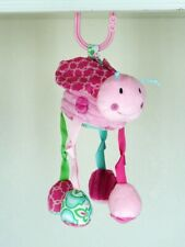 Mud Pie Vibrating Stroller Toy Ladybug Crazy Leg Rattle Crinkle Pink Plush