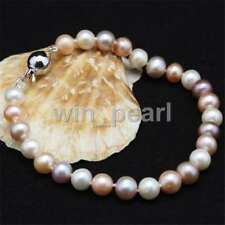 NEW Genuine Natural 8-9mm White/Pink Cultured Freshwater Pearl Bracelet 7.5""