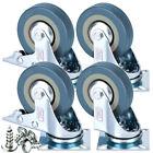 4 x Heavy Duty 50mm Rubber Swivel Castor Wheels Trolley Furniture Caster Brake <br/> HOT SALE 10% OFF✔4 Castor+Screw From £7.19✔Top Quality✔
