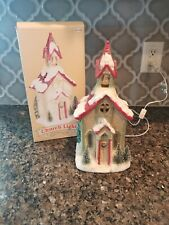 Christmas Traditions Lighted Victorian Village House Church Winter Decor MIB!