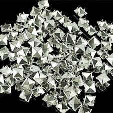 100x Punk Silver Pyramid Studs Rivets Spots Spikes For Bag Shoes Clothes Leather