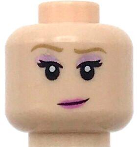 Lego New Light Flesh Minifigure Head Dual Sided Female Medium Nougat Eyebrows