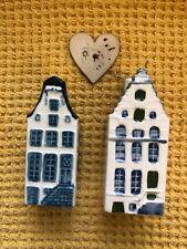 2 Vintage KLM Delft Houses No 9 1958 And No 64 1994 empty