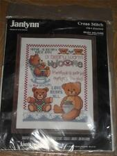 1987 JANLYNN COUNTED CROSS STITCH KIT BEARY WELCOME TEDDY BEARS 11 X 14 #78-4