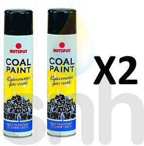 Black Coal Paint 300ml  Rejuvenates Gas Fire Coals 300ml Spray Can Hot Spot X2