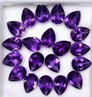 NATURAL AMETHYST 7X5 MM PEAR CUT CALIBRATED PURPLE FACETED LOOSE GEMSTONE LOT