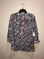 Coldwater Creek 3/4 Sleeve Button Front Floral No-Iron Blouse New $74
