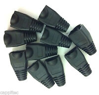 PACK OF 10 BLACK RJ45 SNAGLESS NETWORK CABLE PLUG HOODS BOOTS CAT5e CAT6