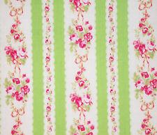 1YD Japanese FLOWER SUGAR Rose Stripe LIME PINK Cottage Shabby Chic Lecien Japan