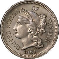 1881 Three (3) Cent Nickel Proof Choice PR Nice Eye Appeal Strong Strike