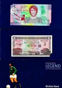 £5 CONSEC Ulster Bank George Best Banknote Presentation Pack GB365394/5/6/7 UNC