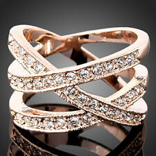 Elegant Jewelry White Yellow Rose Gold GP Austrian Crystal Cross Wide Party Ring