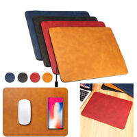 Luxury Qi Wireless Charger Fast Charging Leather Mouse Pad For iPhone X 8 Plus