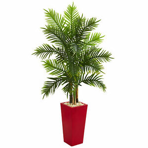 Nearly Natural 5.5' Areca Palm Artificial Tree In Red Planter Real Touch Decor