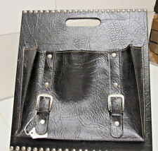 Black Faux Crocodile Leather Magazine Holder With Silver Hardware