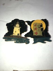 LITTLE LEAGUE PINS HARD TO GET BLACK LIGHTHOUSE AND PIRATE SHIP CT #5 4 1/2 By 3
