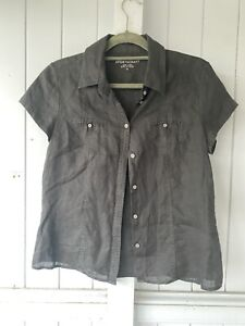 Sportscraft Black Short Sleeve Linen Shirt Size 12