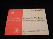 Partitur Erfindungen For Alto Recorder Hans Martin Linde Music -blatt