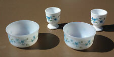 2 coquetiers + 2 ramequins ARCOPAL MYOSOTIS VERONICA vintage egg cup french dish