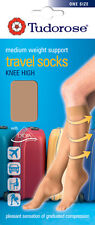 3 Pairs Ladies Compression Travel Flight Socks Knee High Medium Support Size 4-7 Mixed 1 X Black 2 X Natural