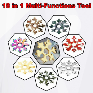 18 In 1 Stainless Multi-Tool Portable Snowflake Shape Key Chain Screwdriver