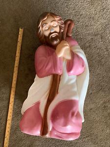 Vintage Retro Large  Christmas Nativity  Joseph Blow Mold  with light