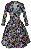 Vintage Dress 1950s 1960s Party Floral Sleeve Collar Size UK 6-26 Navy Blue