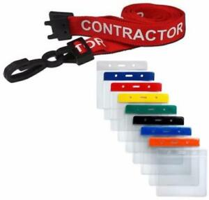 CONTRACTOR Lanyard Red Neck Strap & Coloured Flexi Wallet ID Card Pass Holder