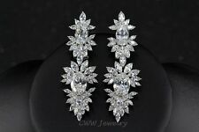 Vintage Wedding Party Jewelry Cubic Zirconia White Topaz Beauty Luxury Earrings
