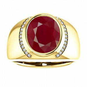 14K Solid Yellow Gold Natural Ruby & Diamond Gemstone Men's Ring Jewelry