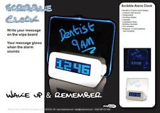 Scribble Alarm Clock LED Morning Memo Message Board With Pen Office Gadget Gift