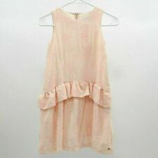 Tartine Et Chocolat Girls Dress Sz 10 Pink Blush Floral Flock Sleeveless Ruffles