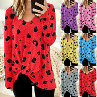 Women Ladies V-Neck Plus Size Long Sleeves Blouse Easy Tie Tops Pulover Jumper