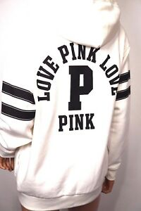 NWT VICTORIA'S SECRET PINK CREAM OVERSIZE FASHION SHOW FULL ZIP HOODIE XS
