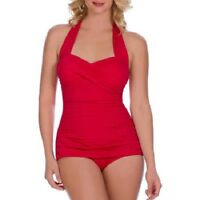 Catalina Simply Slim Women's Slimming Shirred Halter One-Piece Swimsuit
