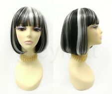 Black White Streaks Short Bob Wig Straight Bangs Synthetic Cosplay Page Boy 9""