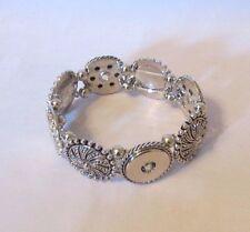 Silver Plated Elastic Button Snaps Bracelet - Fits 18-20mm Ginger Brands