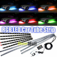 12pcs x RGB LED Strip Under Car Tube Underglow Underbody System Neon Lights Kit