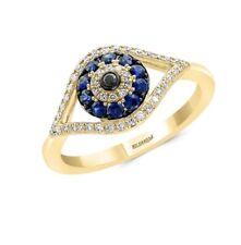 NEW! EFFY SAPPHIRE, DIAMOND & 14K YELLOW GOLD EVIL EYE RING/ SIZE 7/ MSRP $1,735