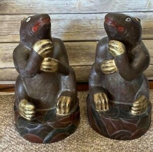 Antique Pair of Asian Wooden Sculptures of Sloth or Bear Lacquered Gilt