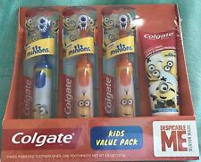 Colgate Kids Value Pack 3x Electric Toothbrush & 4.6 oz Toothpaste 👉Minions