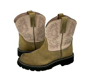 Women's ARIAT Fatbaby Pink & Tan Leather Western Cowboy Boots Sz 8 B