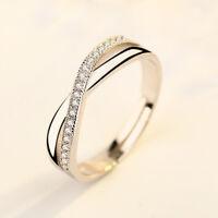 Damen Verstellbar Gr. Design Ring Silber Ring Strass Verlobungs-Ehering Geschenk