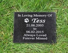 Personalised Pet Dog or Cat Natural Granite Memorial Plaque Grave Marker