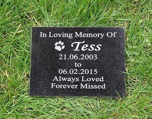 Personalised Pet Dog or Cat Natural Granite Memorial Plaque Grave Marker