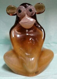 Kosta Boda Glass Sculpture My Wide Life Shock The Monkey - msrp $250