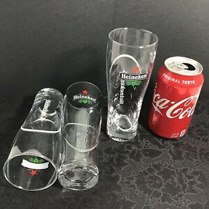 """3 Heineken Ellipse .25L V2 Beer Glasses, Etched, Dotted Bottom Star 6 3/4"""" EUC!"""