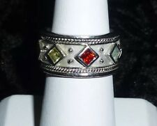 Vtg Ladies Sterling Silver 1980's Etruscan Style Multi Crystal Band Ring Size 7