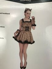 New Leopard Halloween Costume Adult Female Medium Dress Sexy Kitten Disquise Nwt