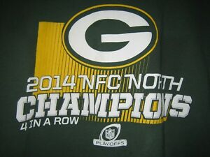 NFL TEAM APPAREL T-SHIRT GREEN BAY PACKERS NFC NORTH SHORT SLEEVE GREEN 2014 XL